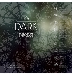 Dark forest background business icons vector