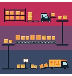 Cargo and delivery shipping process icons vector