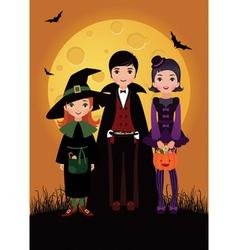 Children in costume halloween vector