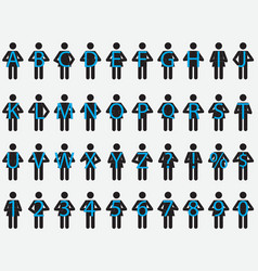 Pictogram people holding letters vector