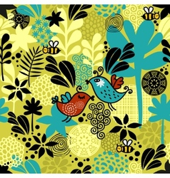 Seamless pattern with sweet couple of birds vector