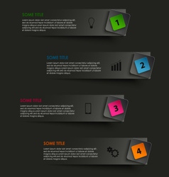 Info graphic striped with colored pointer on black vector