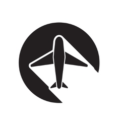 Black icon with airplane and stylized shadow vector