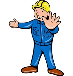 Construction worker stop hand vector