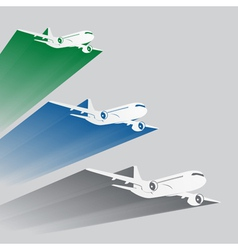 Airplanes silhouettes with color trace vector
