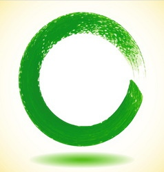 Green paintbrush circle frame vector