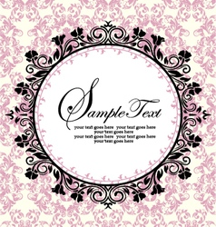 Ornate frame on pink damask background vector