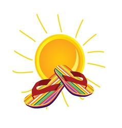 Sun with flip flop art vector