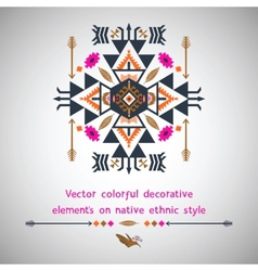 Colorful elements on native ethnic style vector