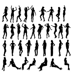 Silhouettes of dancing standing and vector