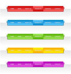 Colorful folded paper navigation menu vector