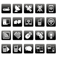 White wireless icons on black squares vector