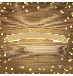 Wooden background with gold stars and banner vector
