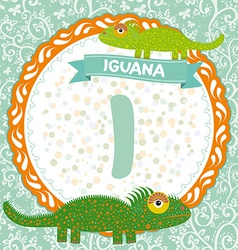 Abc animals i is iguana childrens english alphabet vector
