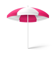 Pink sun beach umbrella isolated on white vector