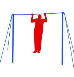 Silhouette of an athlete on the horizontal bar vector
