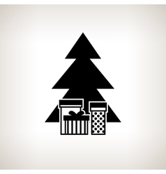 Silhouette christmas tree with gifts vector