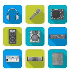 Various color flat style sound devices icons set vector