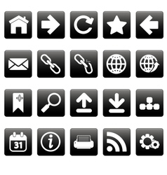 White web icons on black squares vector