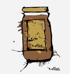 Ink coffee jar vector