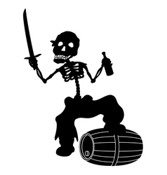 Jolly roger black silhouette vector