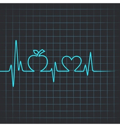 Heartbeat make apple and heart symbol vector