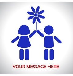 Children are holding flower vector