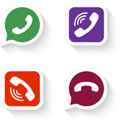 Phone icons set in speech bubble and button vector