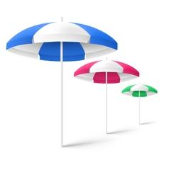 Multicolored sun beach umbrellas isolated on white vector