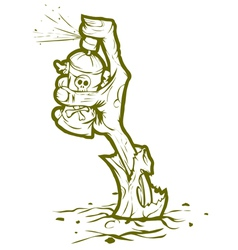 Zombie drawing graffiti bicolor vector