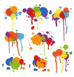 Set of multicolored stains and blots vector
