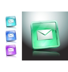 Glass icons set green messaging e-mail vector