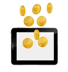 Tablet pc with gold coin money concept vector