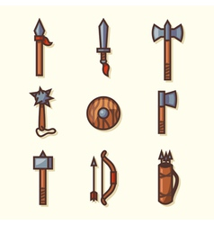 Medieval weapons icons vector
