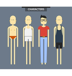 Set of characters in different clothes flat style vector