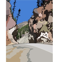 The road among cliffs vector