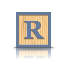 Letter r wooden alphabet block vector