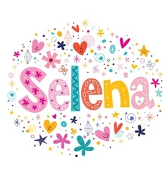 Selena female name decorative lettering type vector