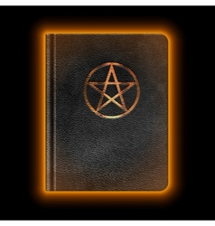 Glowing leather book with pentagram vector