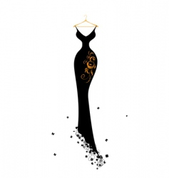Evening dress black on hangers vector