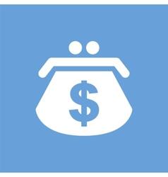 Dollar purse white icon vector