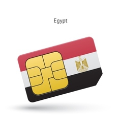 Egypt mobile phone sim card with flag vector