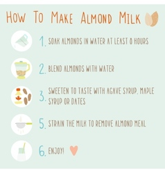 How to make almond milk vector