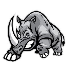Angry rhino ready to ram vector