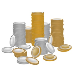 Stack of gold and silver coins vector