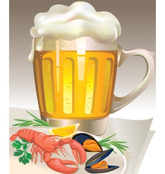Glass of beer with seafood vector