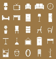 Furniture icons on brown background vector