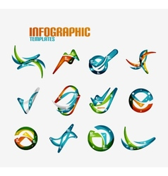Set of modern wave business infographics vector
