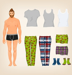 Dress up male paper doll with an assortment of vector