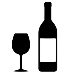 Wine bottle with blank label and glass vector